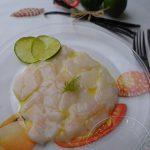 Carpaccio de St Jacques aux saveurs des îles (vanille et citron vert)