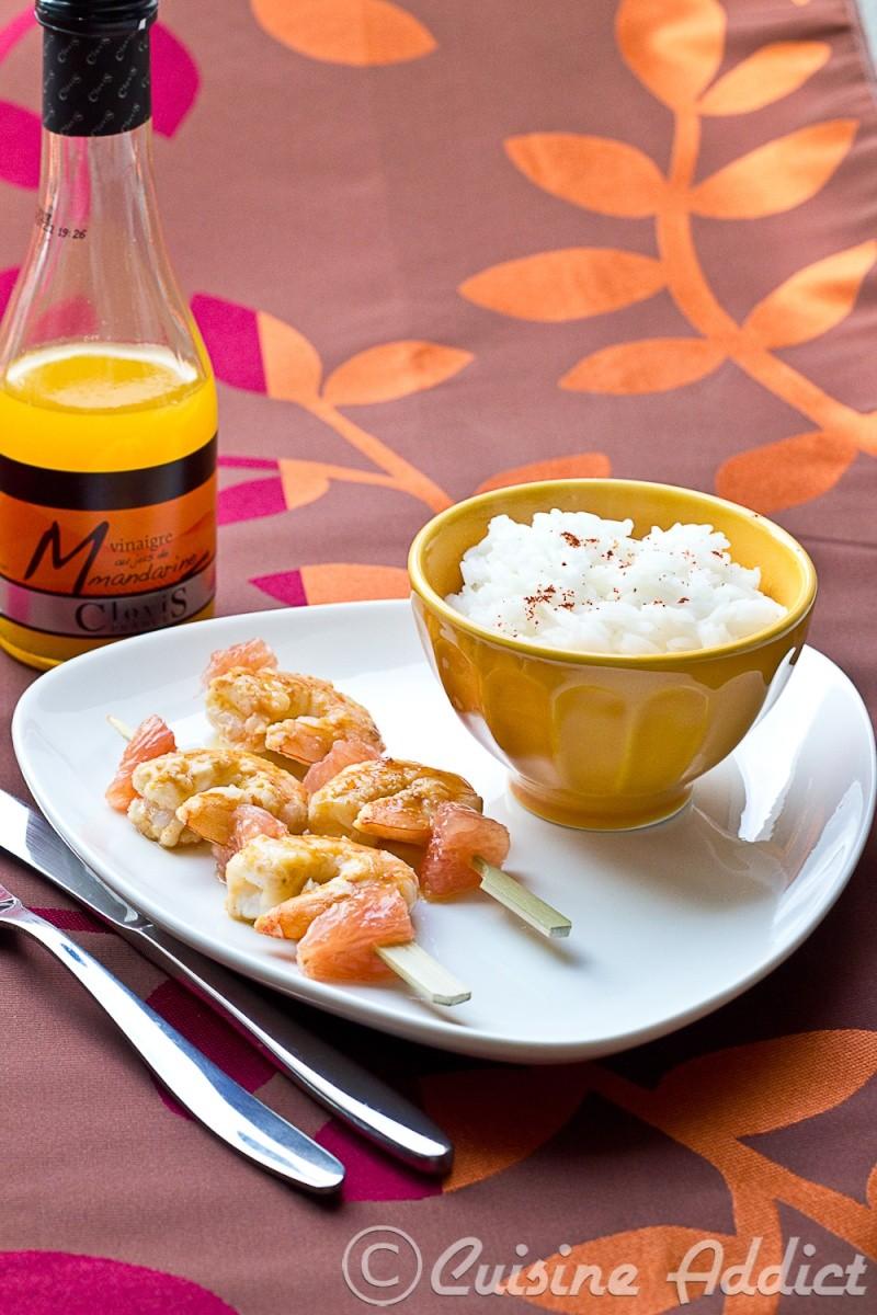 Brochettes de Crevettes marinées au Vinaigre au jus de Mandarine et Pomelo