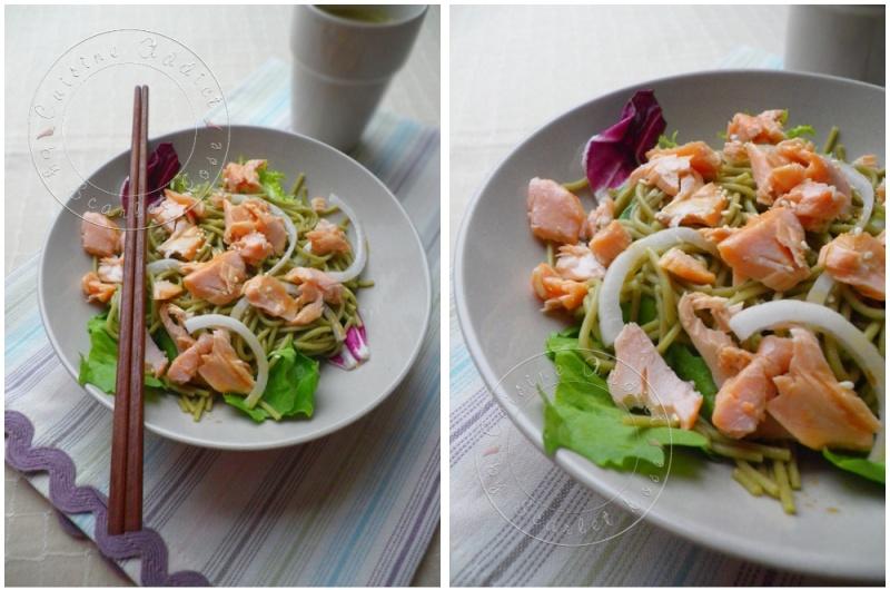 Salade au saumon et nouilles soba