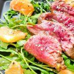 Boeuf grillé, Roquette & Pamplemousse, sauce au Wasabi
