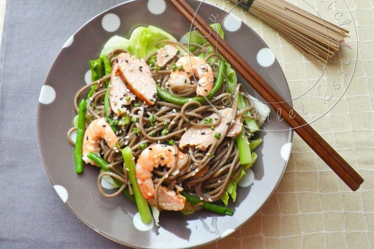 Bien-aimé Salade Japonaise au Poulet, Crevettes et Nouilles Soba - Cuisine  QK03