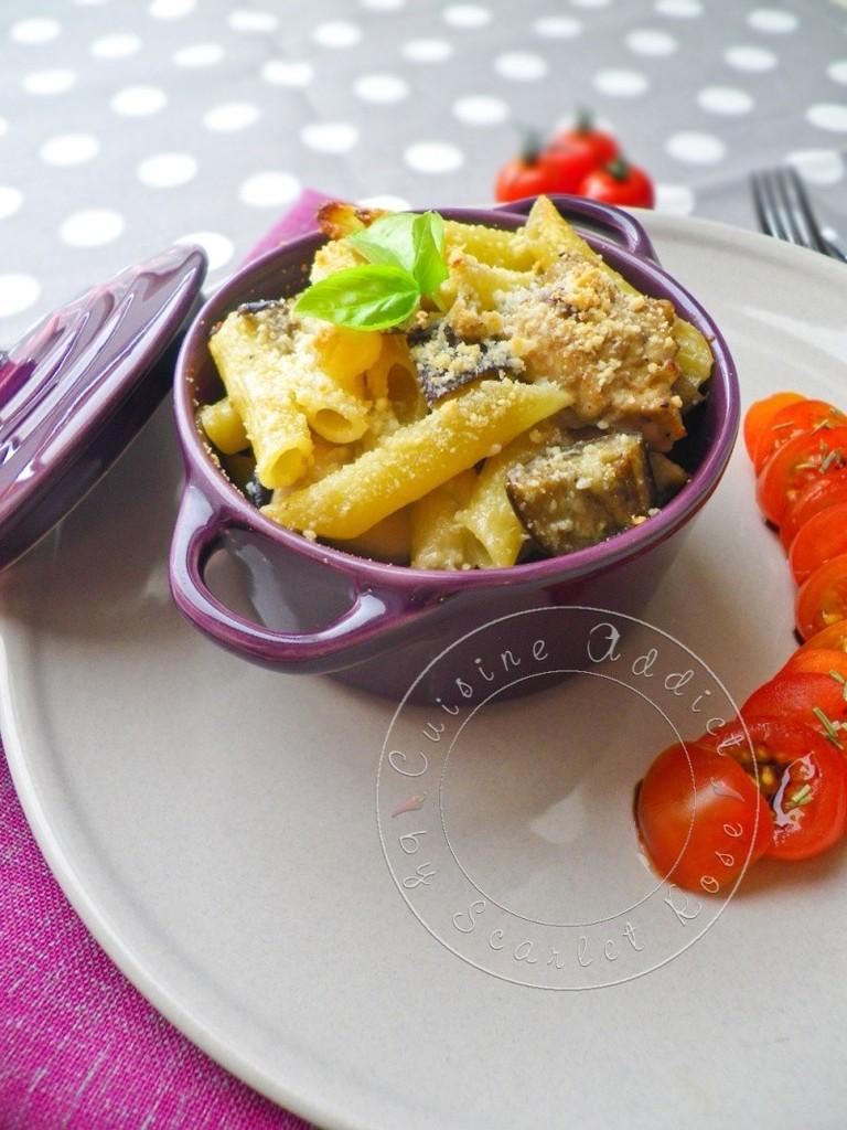 Gratin de penne au poulet aubergines cuisine addict - Gratin de pates poulet ...