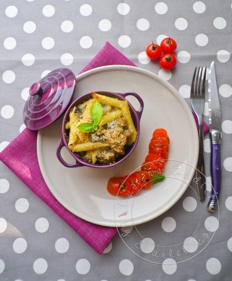 Gratin poulet penne aubergine 3