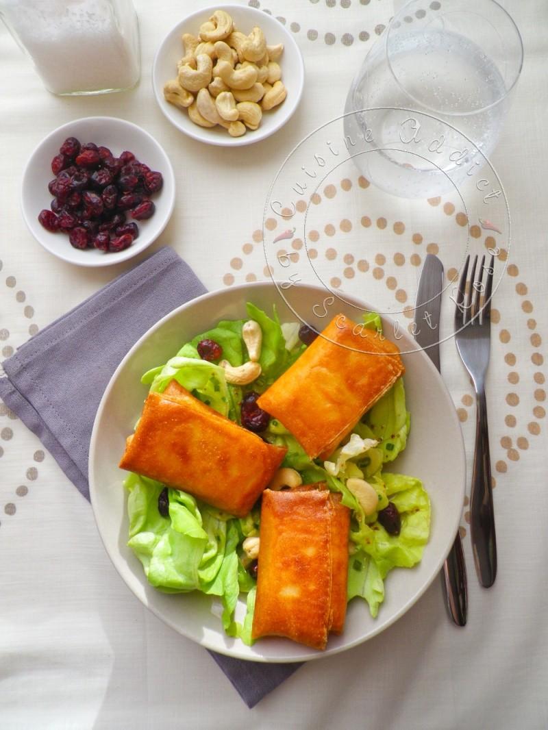 Ma salade de bri brick croustillants de brie en feuille de brick cuisine addict - Feuille de cuisine ...