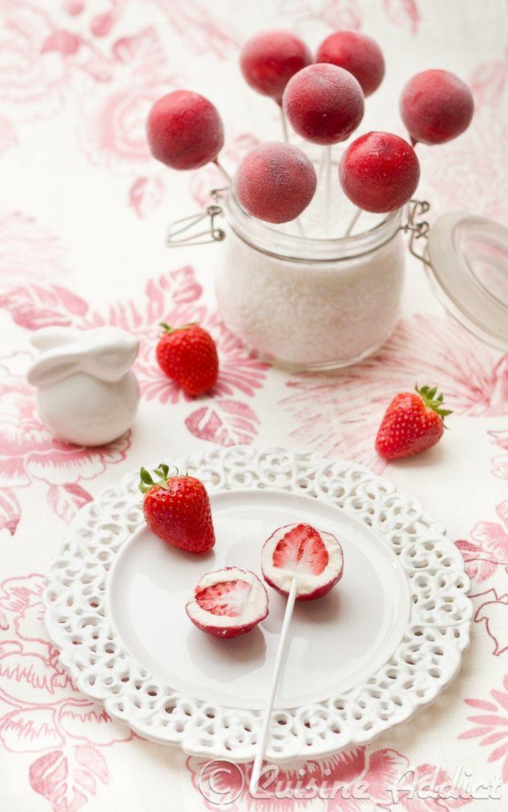 fraise pops glacés