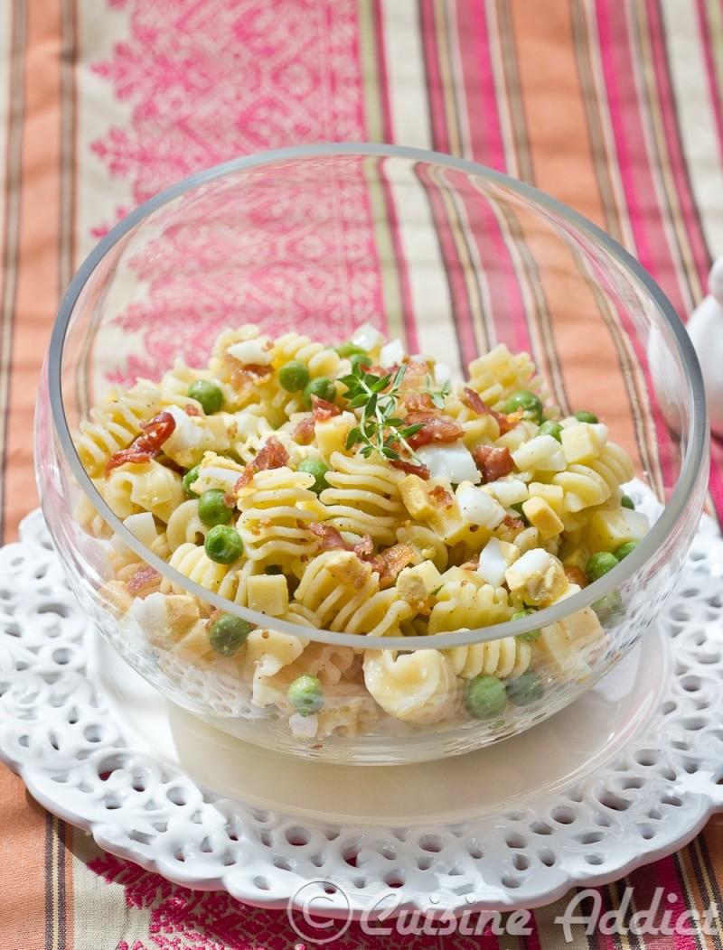 Salade de pâtes Radiatori aux Petits-pois frais et Bacon croustillant