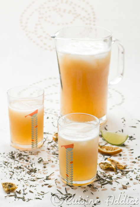 Peach iced tea with Ginger and Basil