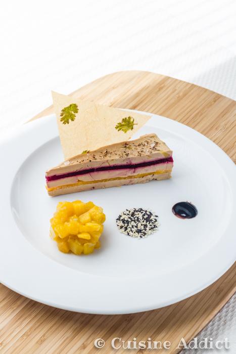 Millefeuille de Foie gras, Mangue & Betterave Chutney de Mangue au Floc de Gascogne