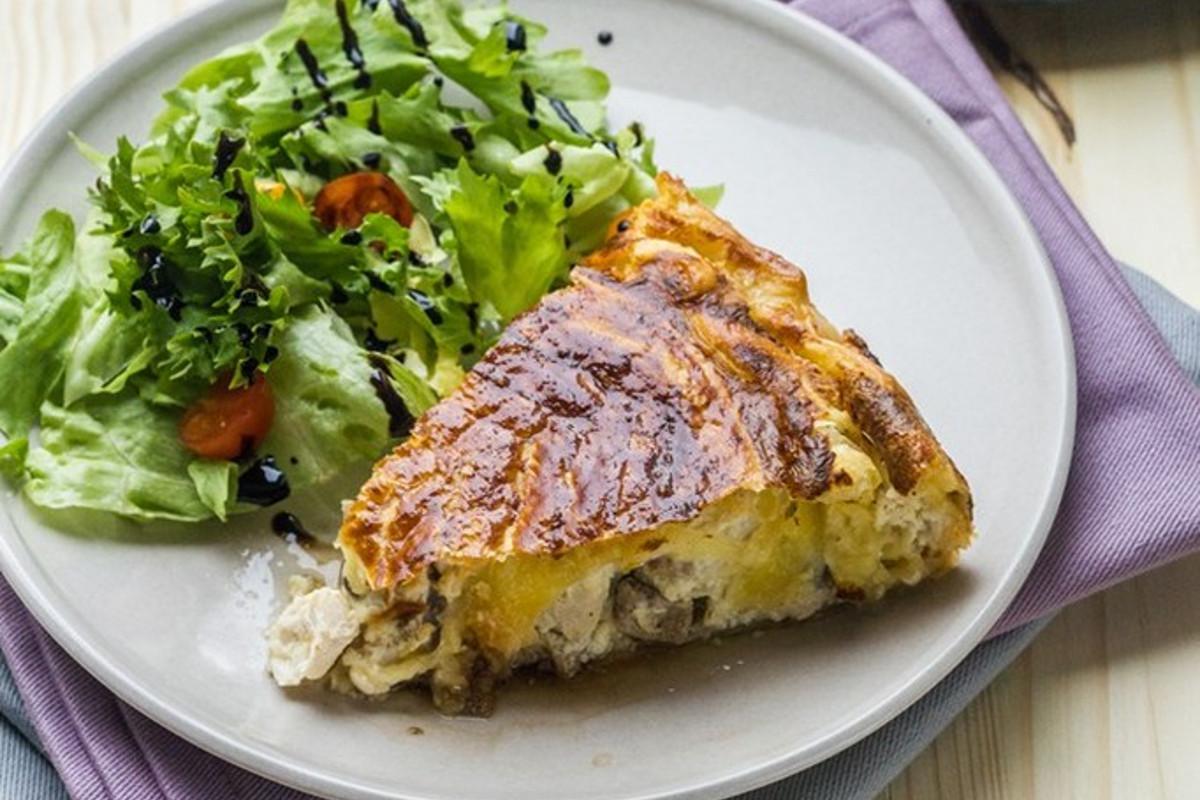 Tourte veau, poulet et champignons
