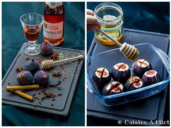 Figues rôties au Vin rosé, Epices & Glace à la fève de Tonka