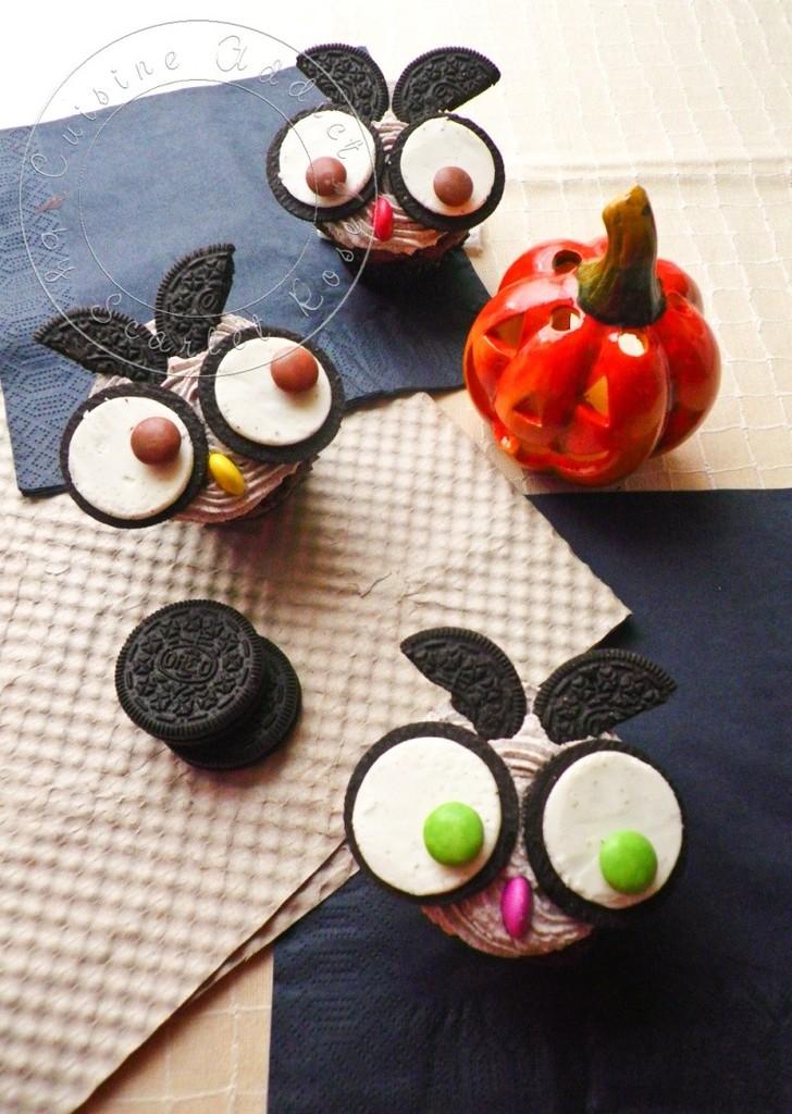 chouette Cupcakes aux Oreos halloween