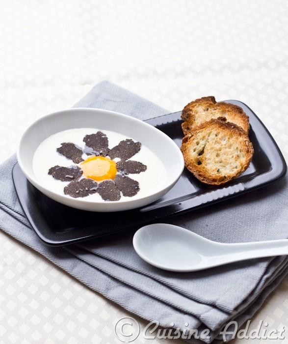 Le Beaufort & la Vieille Tomme de Savoie, comme une fondue, avec ses lamelles de Truffe et son jaune d'oeuf tiédi
