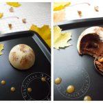 Dôme de mousse au chocolat, coeur coulant au caramel sur son croustillant pralinoise