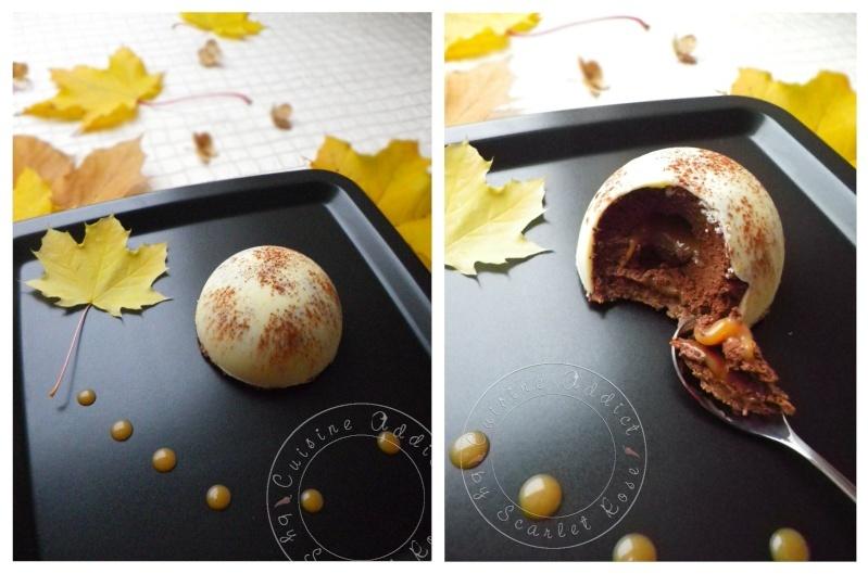Dôme de mousse au chocolat, coeur</br>coulant au caramel sur son croustillant</br>pralinoise