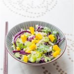 Asian Coleslaw with Red cabbage and Mango