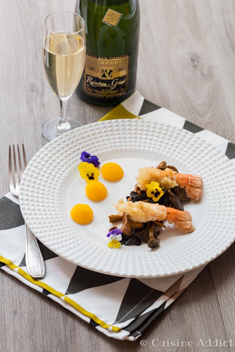 Tempura de langoustines champignons saut s pur e de for Cuisine addict