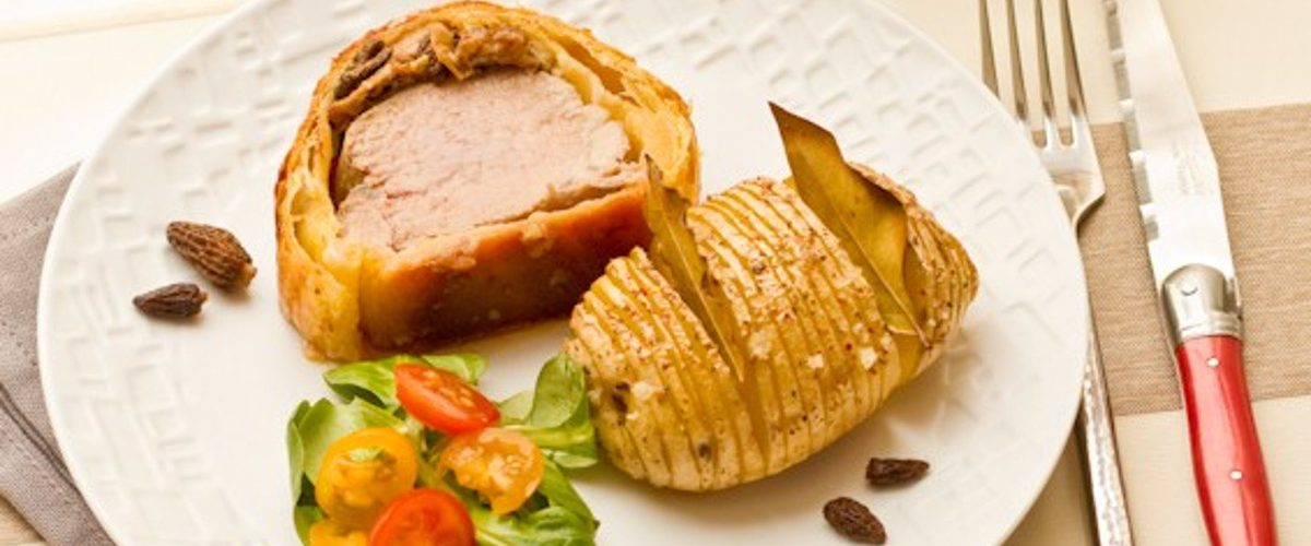 Filet mignon en croute au foie gras et morilles