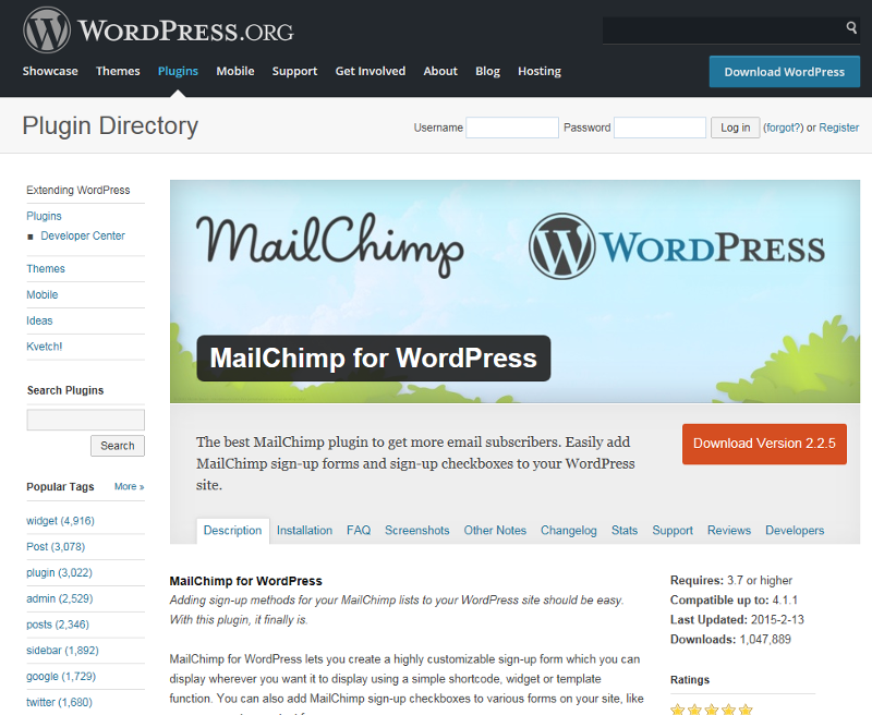 Wordpress Mailchimp plugin
