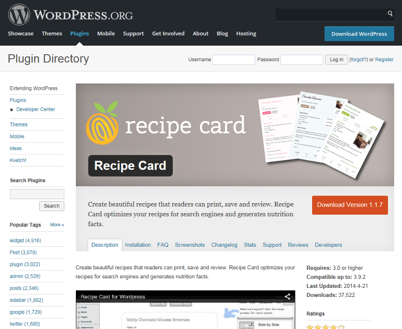 Wordpress Recipe card plugin