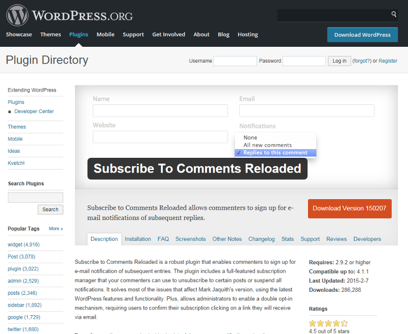 Wordpress Suscribe to comments plugin