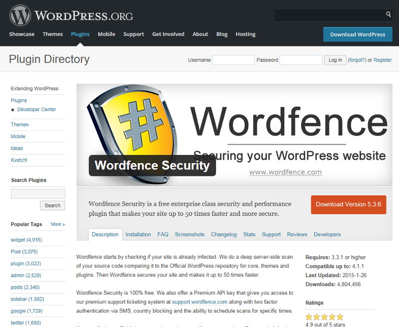 Wordpress Wordfence security plugin
