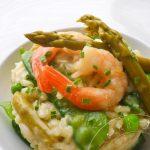Risotto verde & Scampi {Risotto aux Petits pois, Pois gourmands, Asperges & Crevettes}