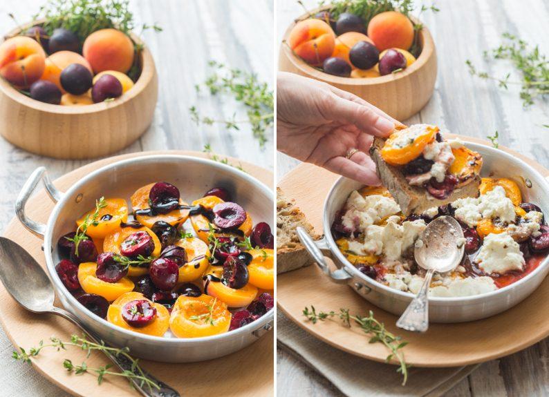 Abricots et cerises rôtis à la ricotta