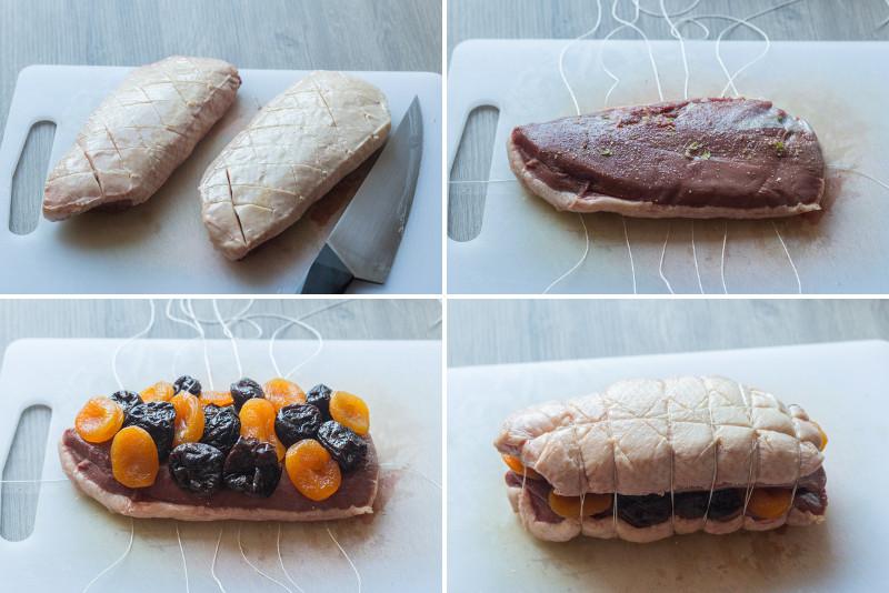 r ti de magret de canard aux pruneaux et abricots recette pour no l. Black Bedroom Furniture Sets. Home Design Ideas