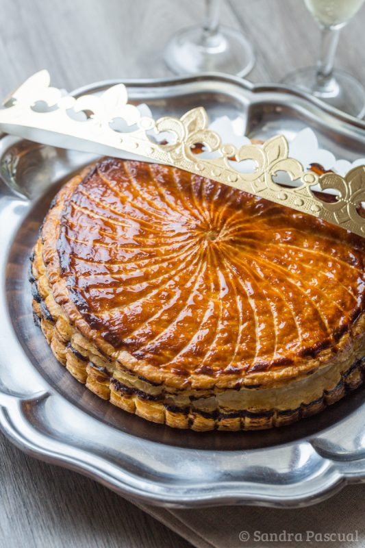 Galette des rois with frangipane de praliné and passion fruit