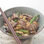 Riz frit Japonais aux Asperges à la</br>Plancha