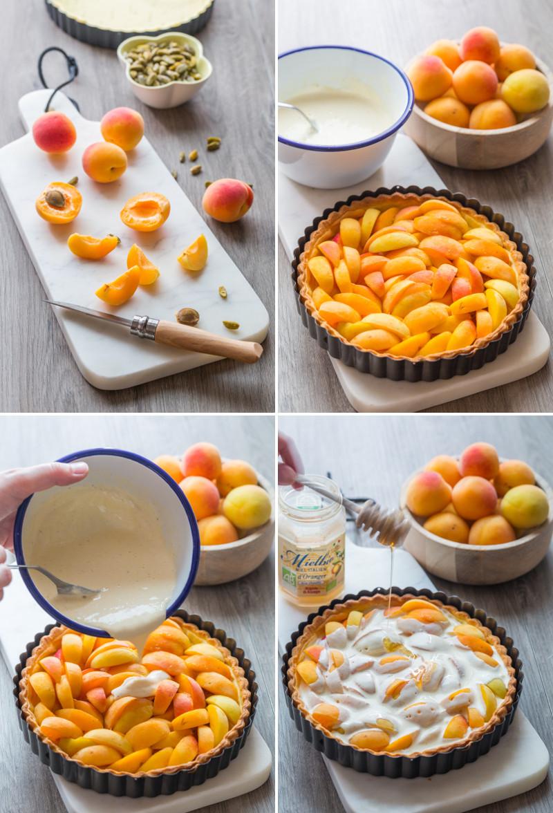 Préparation d'une tarte aux abricots