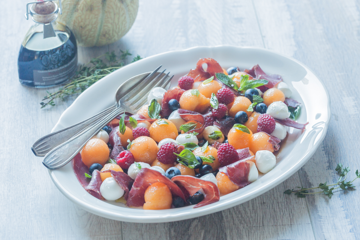 Fruity Salad With Melon Mozzarella Bresaola Cuisine