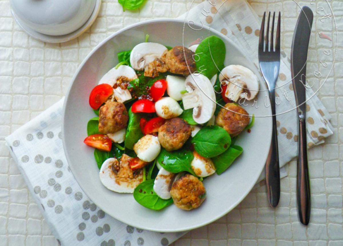 Salade aux accents Italiens {Polpettes de veau & mozzarella}