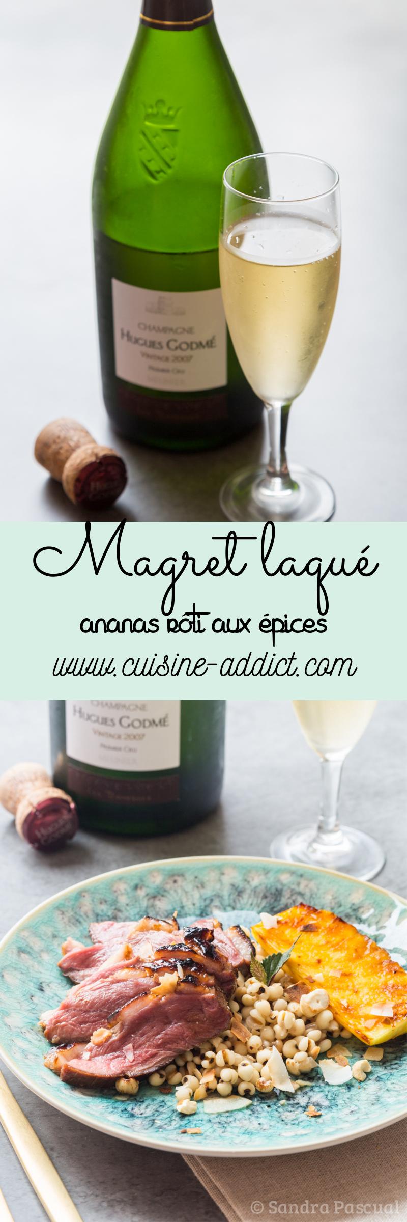 Magret de canard mariné aux saveurs asiatiques, ananas rôti aux épices & orge perlé {Concours Champagne en Cuisine}