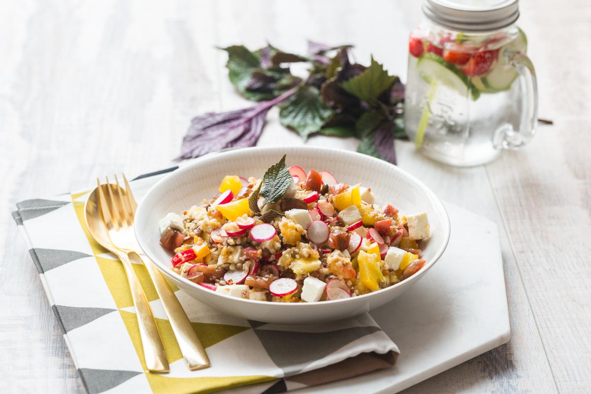 lentils & quinoa salad with feta - cuisine addict