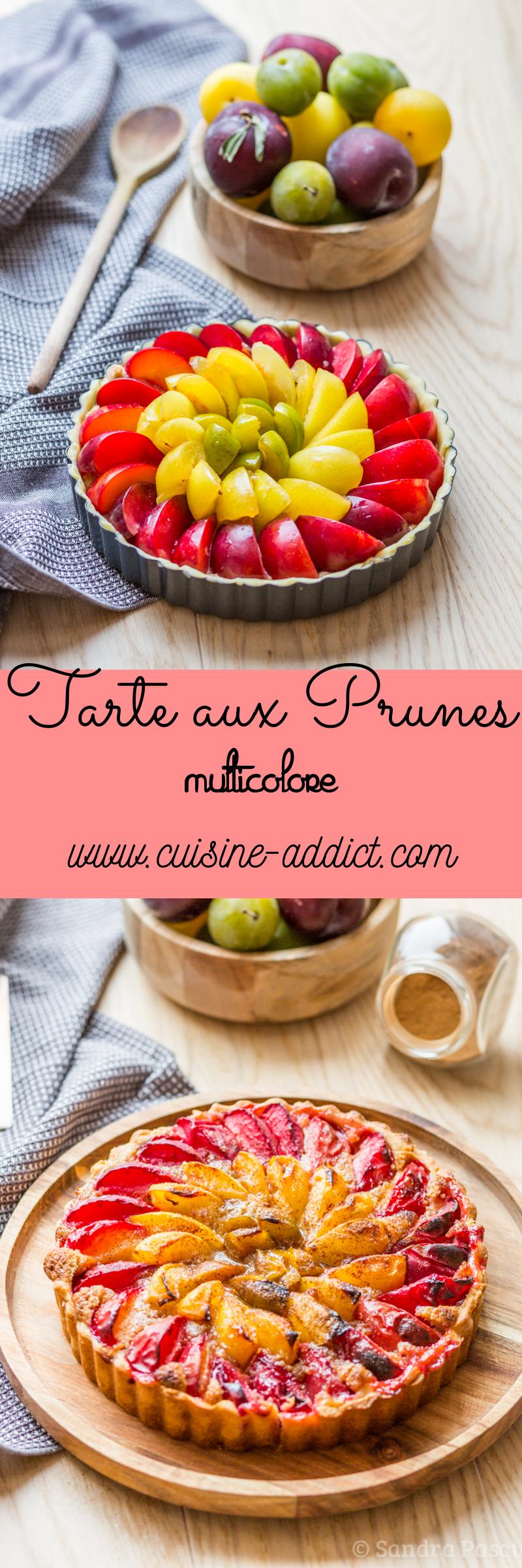 Tarte aux Prunes multicolore à la crème de noisettes