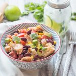Black bean & corn panzanella salad