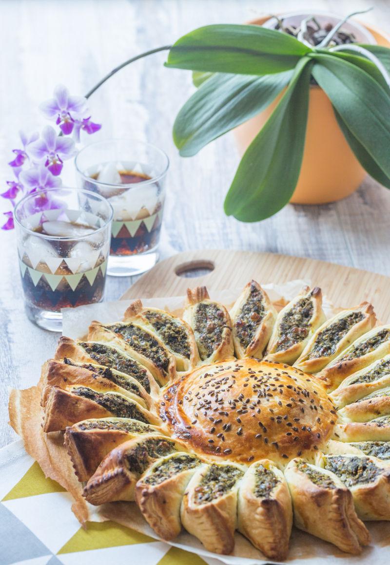 Tarte soleil épinard, poulet et fromage