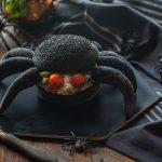 Black spider Burger with salmon