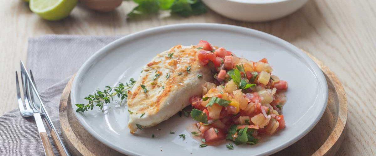 Poulet grillé sauce salsa exotique rapide