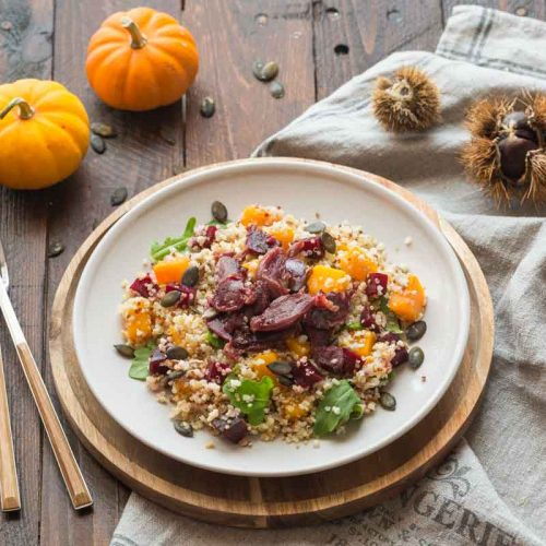 Salade au boulgour, courge et gésiers