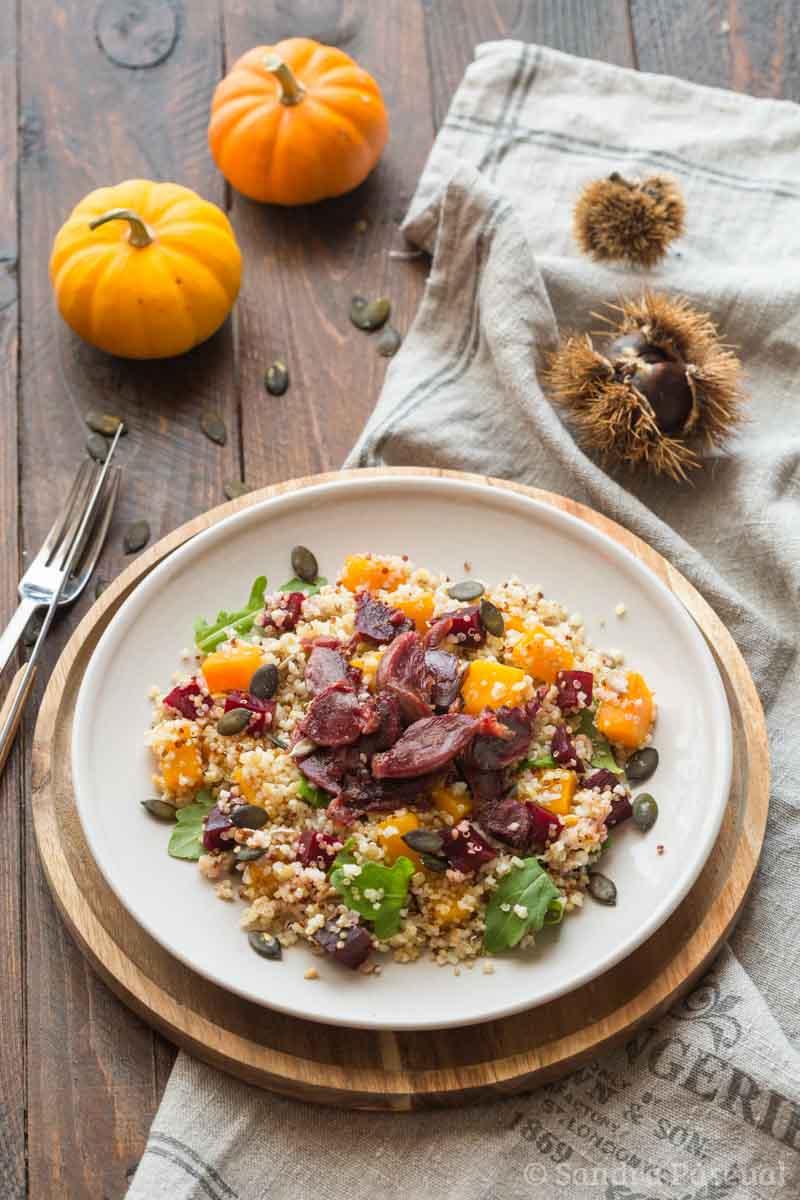 Salade de gésiers aux courges, betterave et boulgour