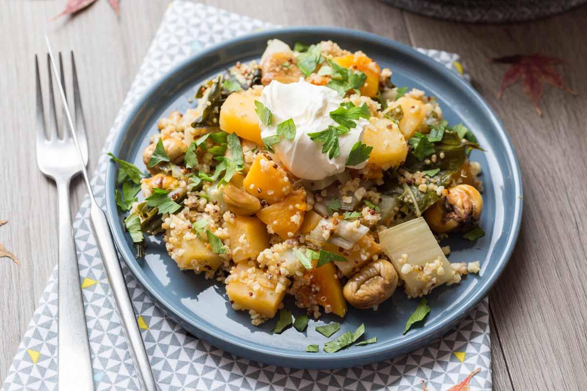 Légumes d\u0027hiver, Quinoa et Boulgour en Cocotte