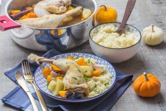 Tajine de cuisses de poulet, courges et pruneaux