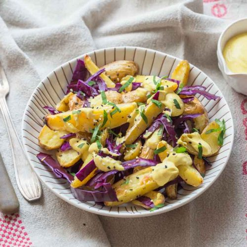 Pommes de terre rôties et chou rouge