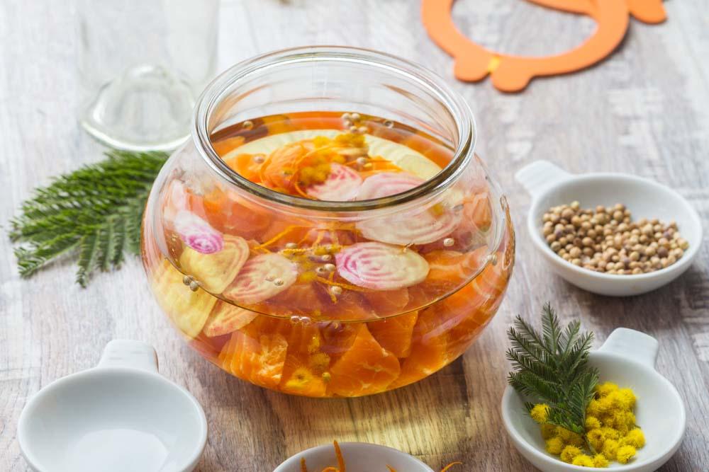 Saumon mariné au Mimosa