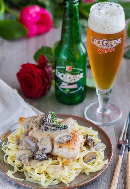 Poulet à la crème, bière et aux champignons