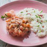 Tartare de saumon mariné aux baies roses & Gingembre, Basmati parfumé Comptoir de Pondichery