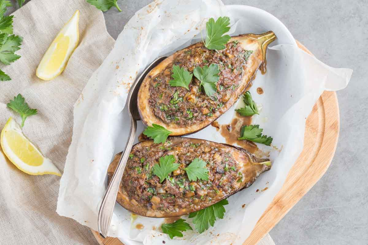 Eggplant Stuffed with Lamb & Lemon