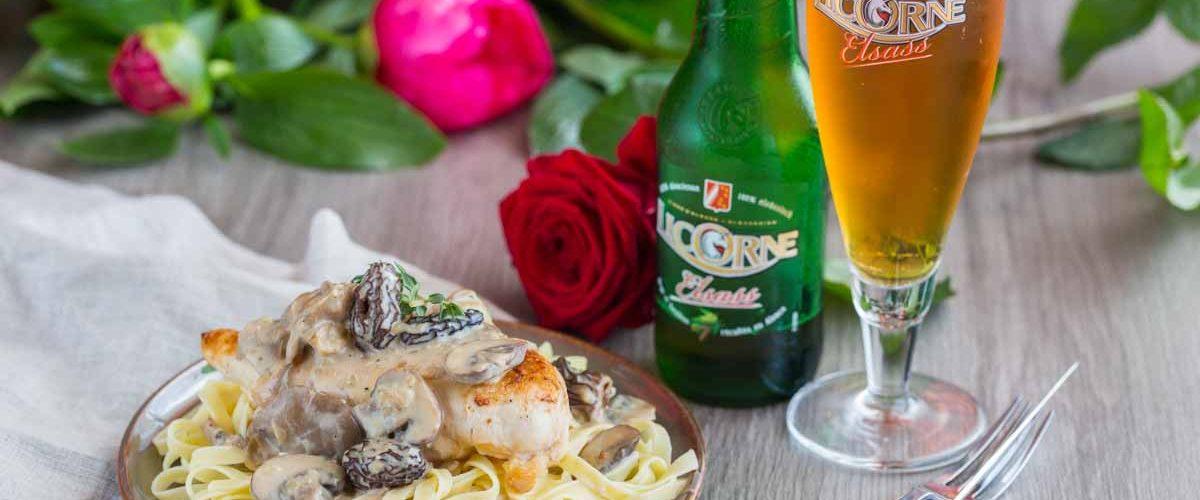 Recette de poulet à la crème, champignons et bière